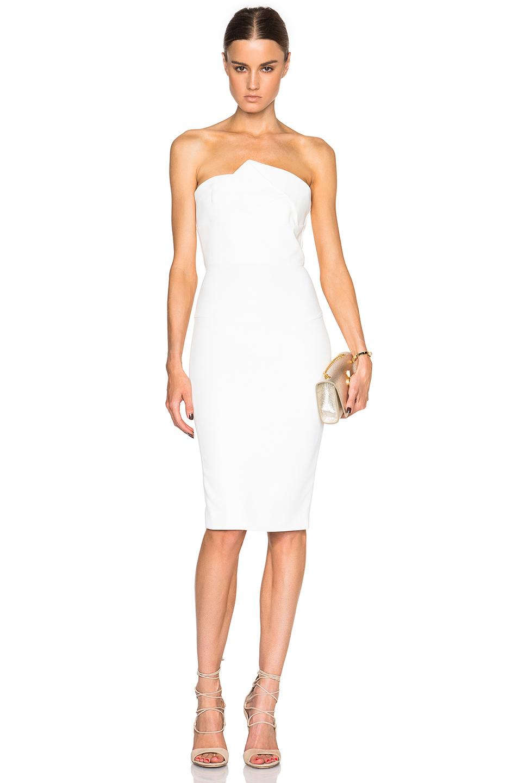 Roland mouret Esther Strapless Dress in White | Lyst Victoria Beckham Dresses
