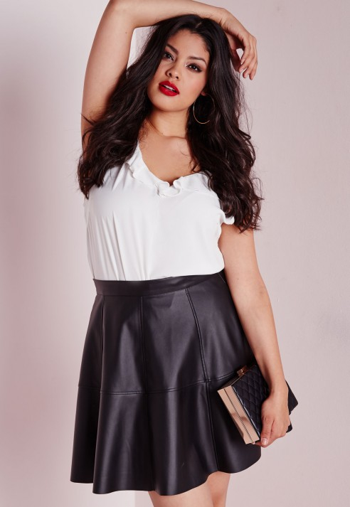 Lyst Missguided Plus Size Faux Leather Skater Skirt Black In Black
