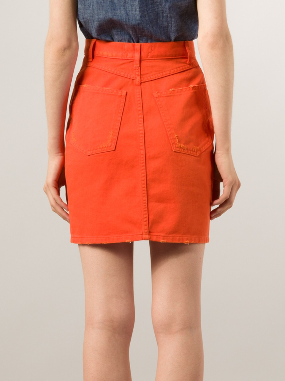Msgm Button Front Denim Skirt in Orange | Lyst