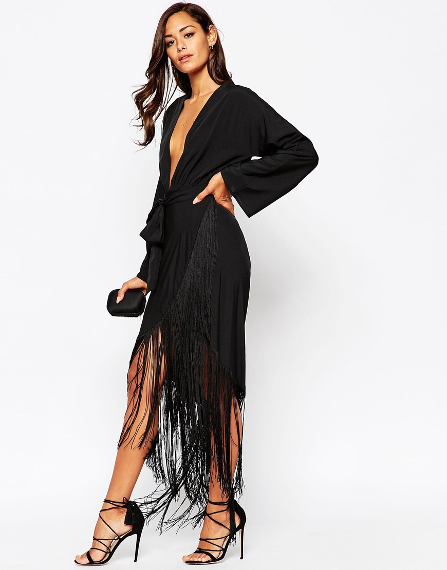Lyst Asos Fringe Deep Plunge Maxi Dress In Black