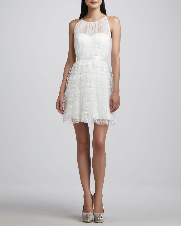 Aidan Mattox Sleeveless Laceoverlay Dress In White Lyst