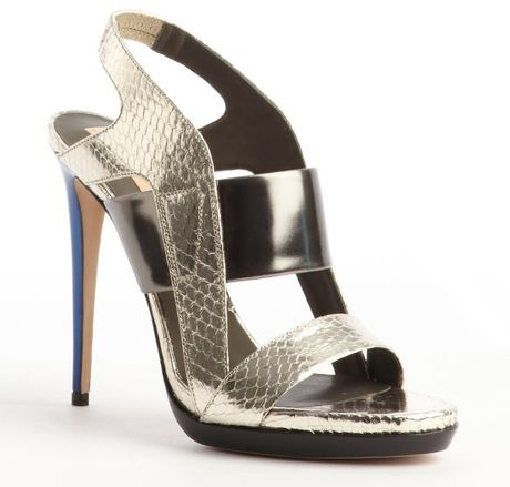220039ec73 Gold and Gunmetal Grey Python Embossed Leather Strappy Sandals in Gold