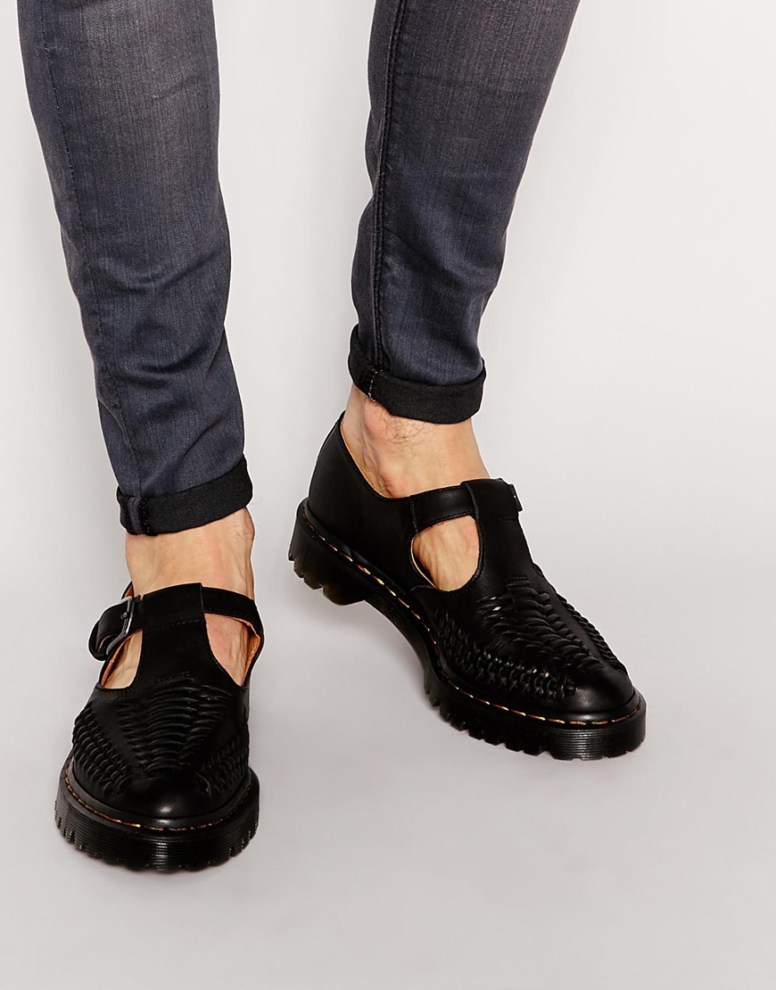 Dr Martens Woven T Bar Shoes In Black For Men Lyst