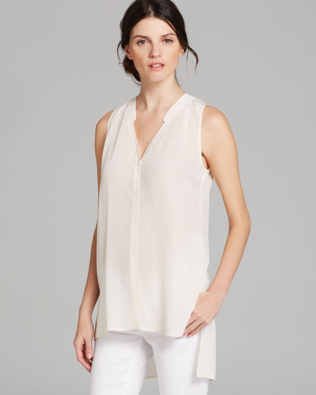 Eileen Fisher V Neck Sleeveless Top In White