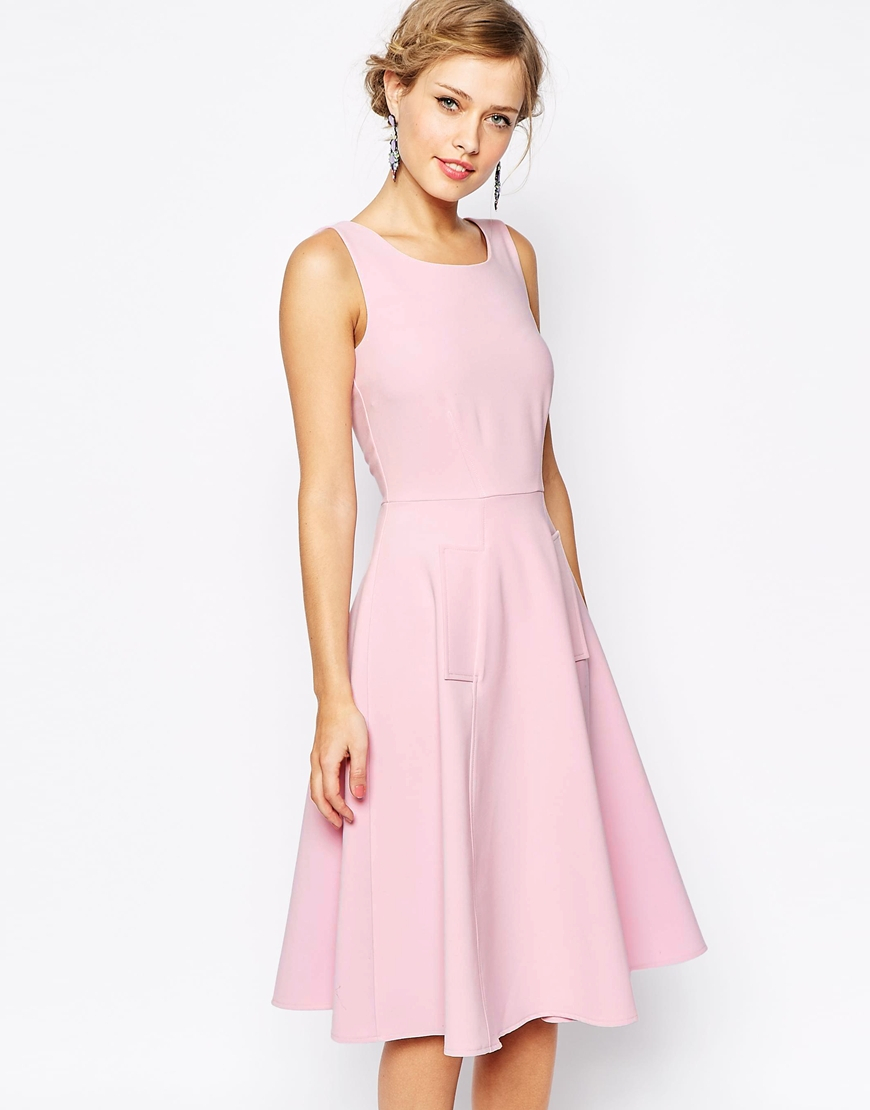 593e2efda1fa Lyst - Closet Midi Skater Dress With Pockets in Pink