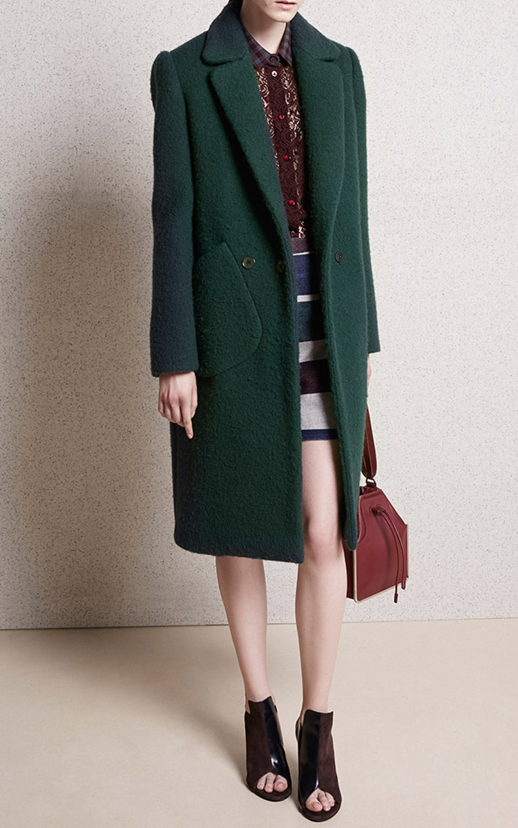Carven Wool Coat in Green | Lyst