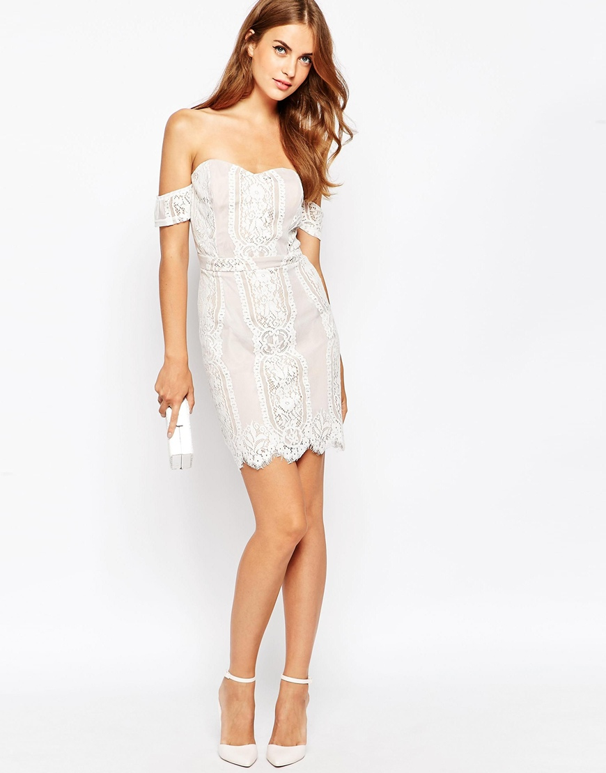 1c24185aac301 Lyst - Adelyn Rae White And Nude Lace Off The Shoulder Dress in White