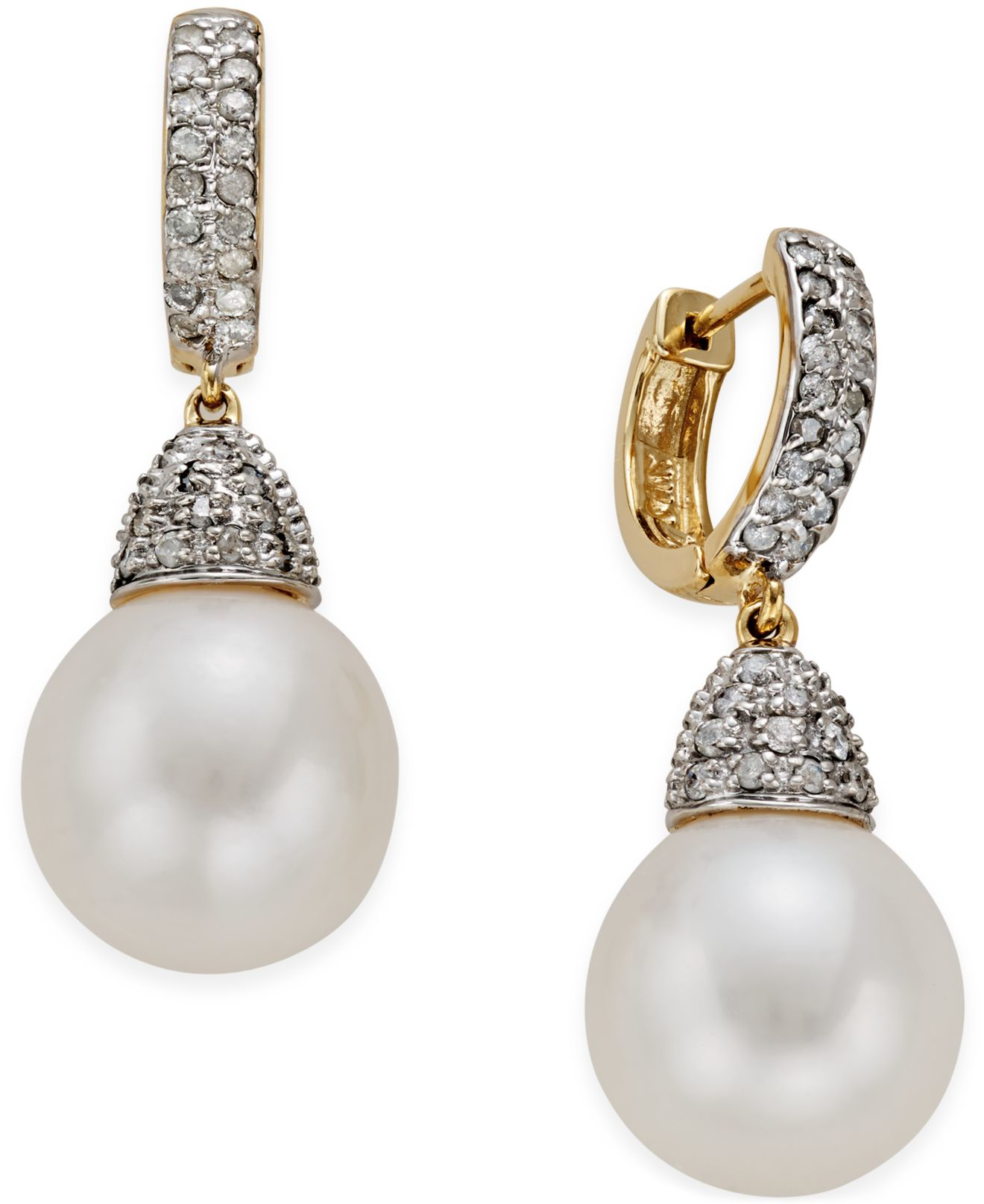 macy s pearl earrings macy s freshwater pearl 11mm and 3 4 ct t w 2499