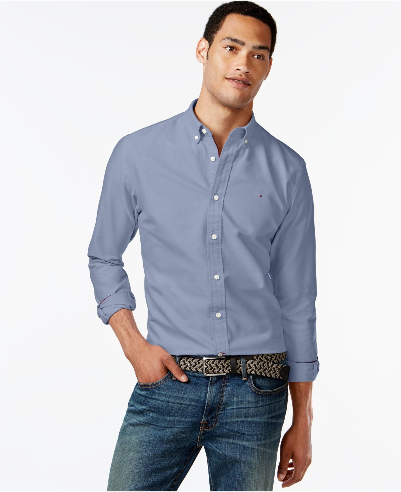 36084b070 Lyst - Tommy Hilfiger New England Solid Oxford Shirt in Blue for Men