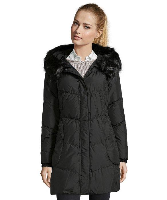 T tahari Black Quilted 'miami' Faux Fur Trim Down Jacket in Black ...
