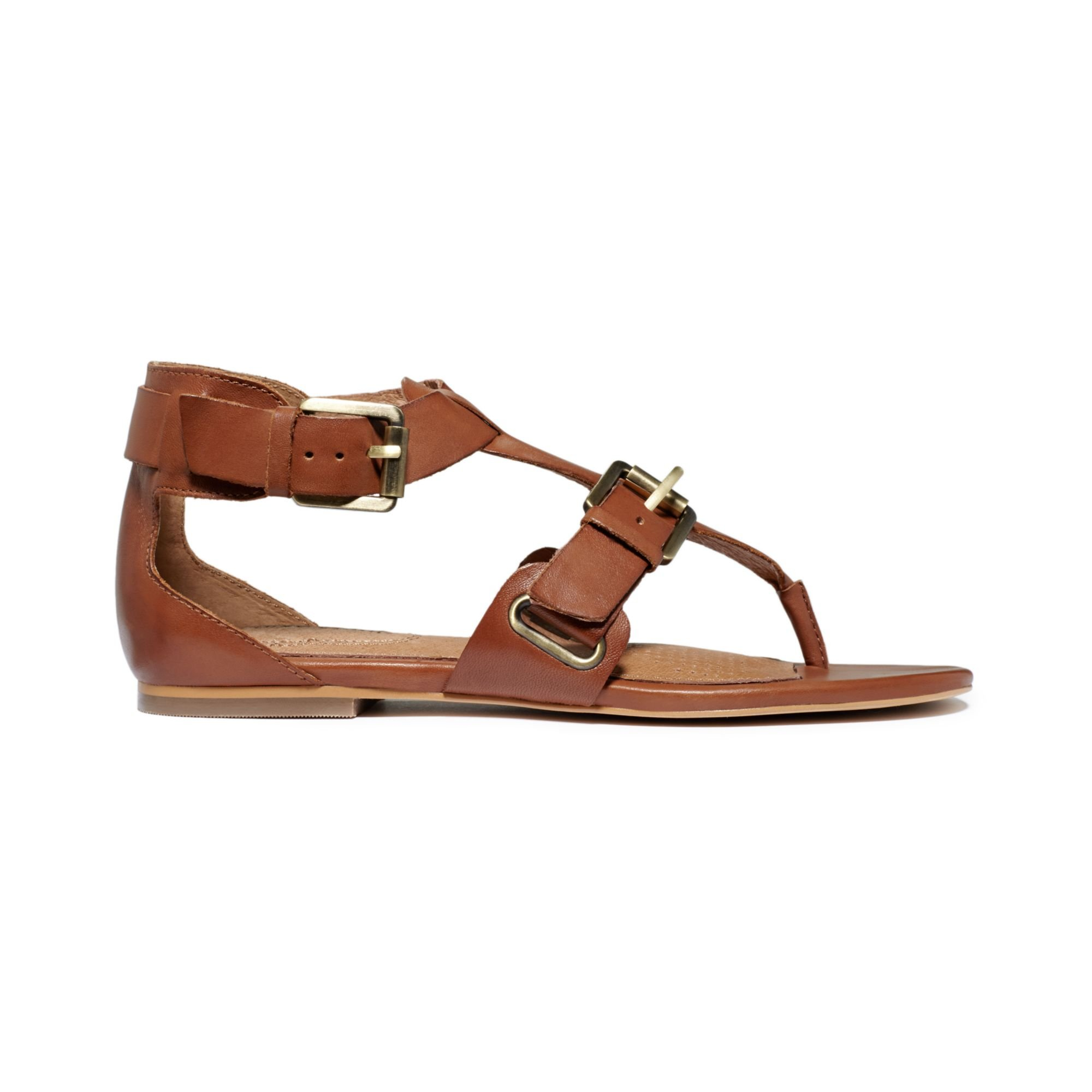 Corso Como Sangria Gladiator Flat Thong Sandals In Brown