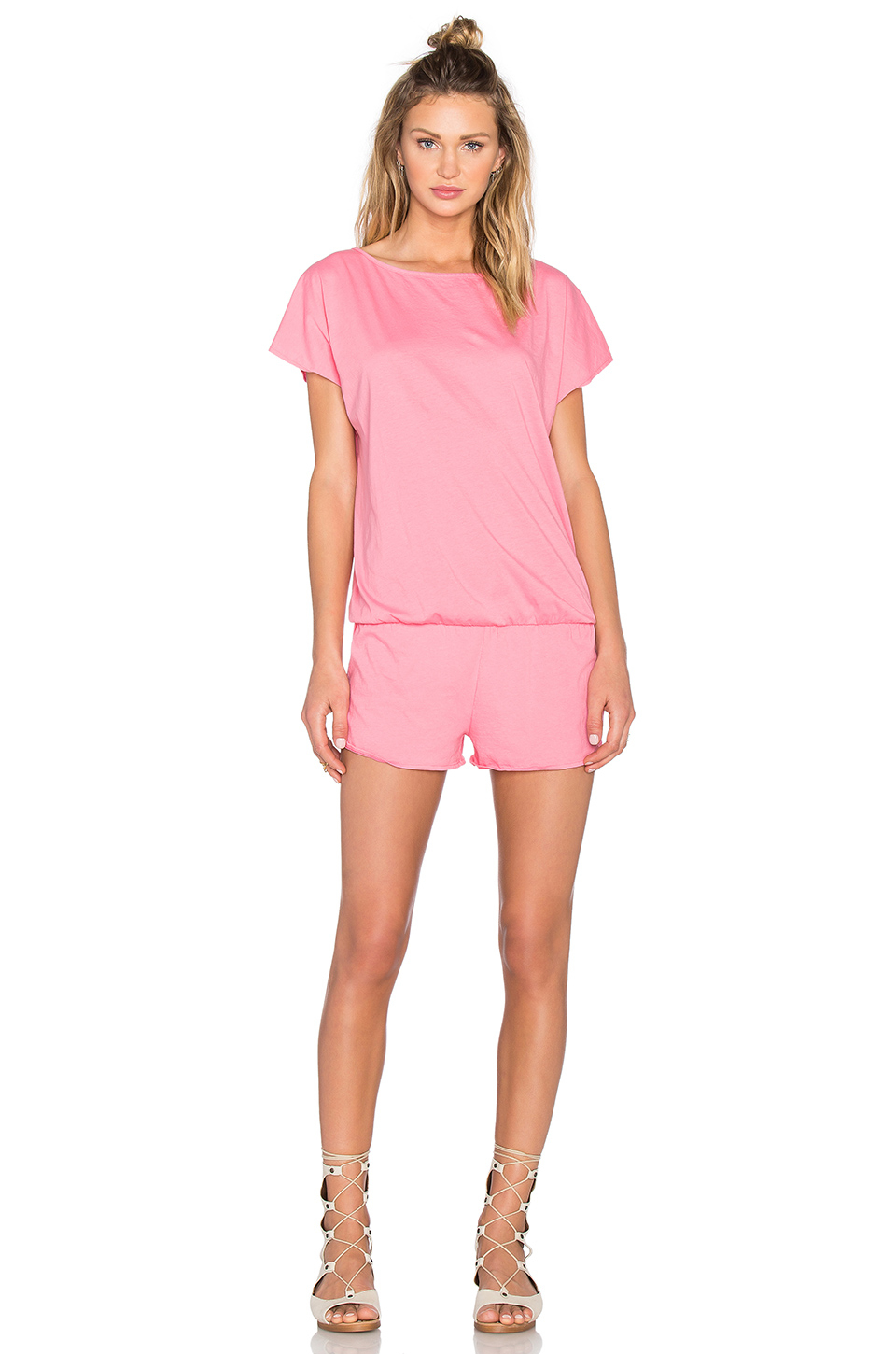 15c3be83a36 Lyst - Bobi Supreme Jersey Short Sleeve Open Back Romper in Pink