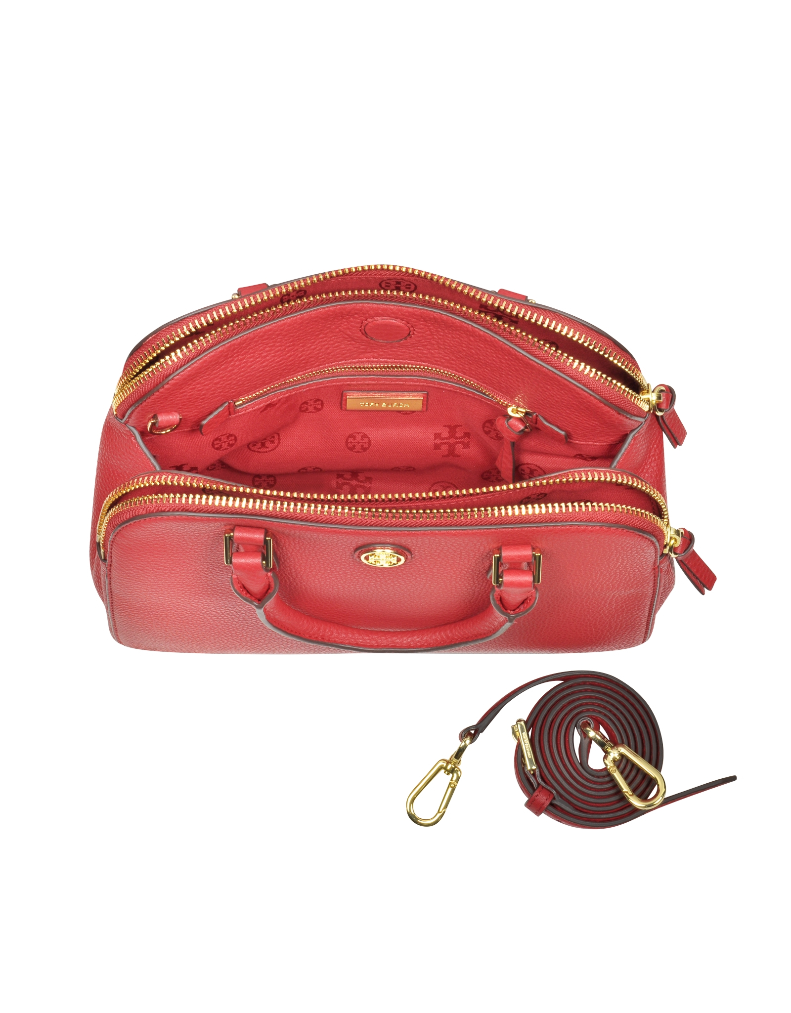 57dc18286366 Lyst - Tory Burch Robinson Small Leather Satchel in Red