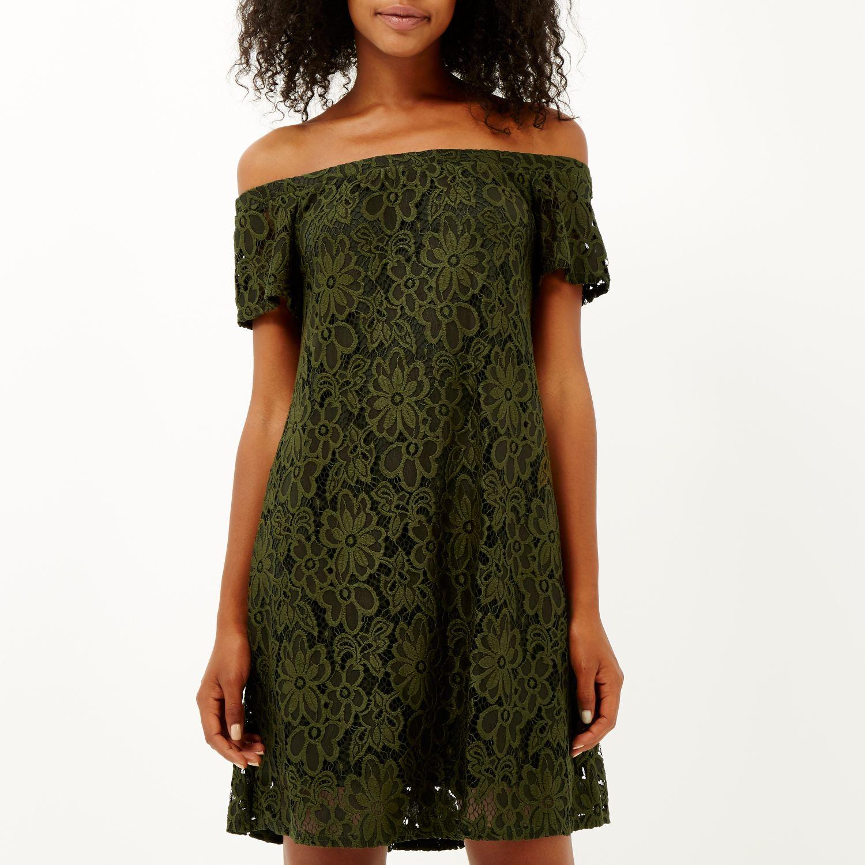 Lace dress river island khaki