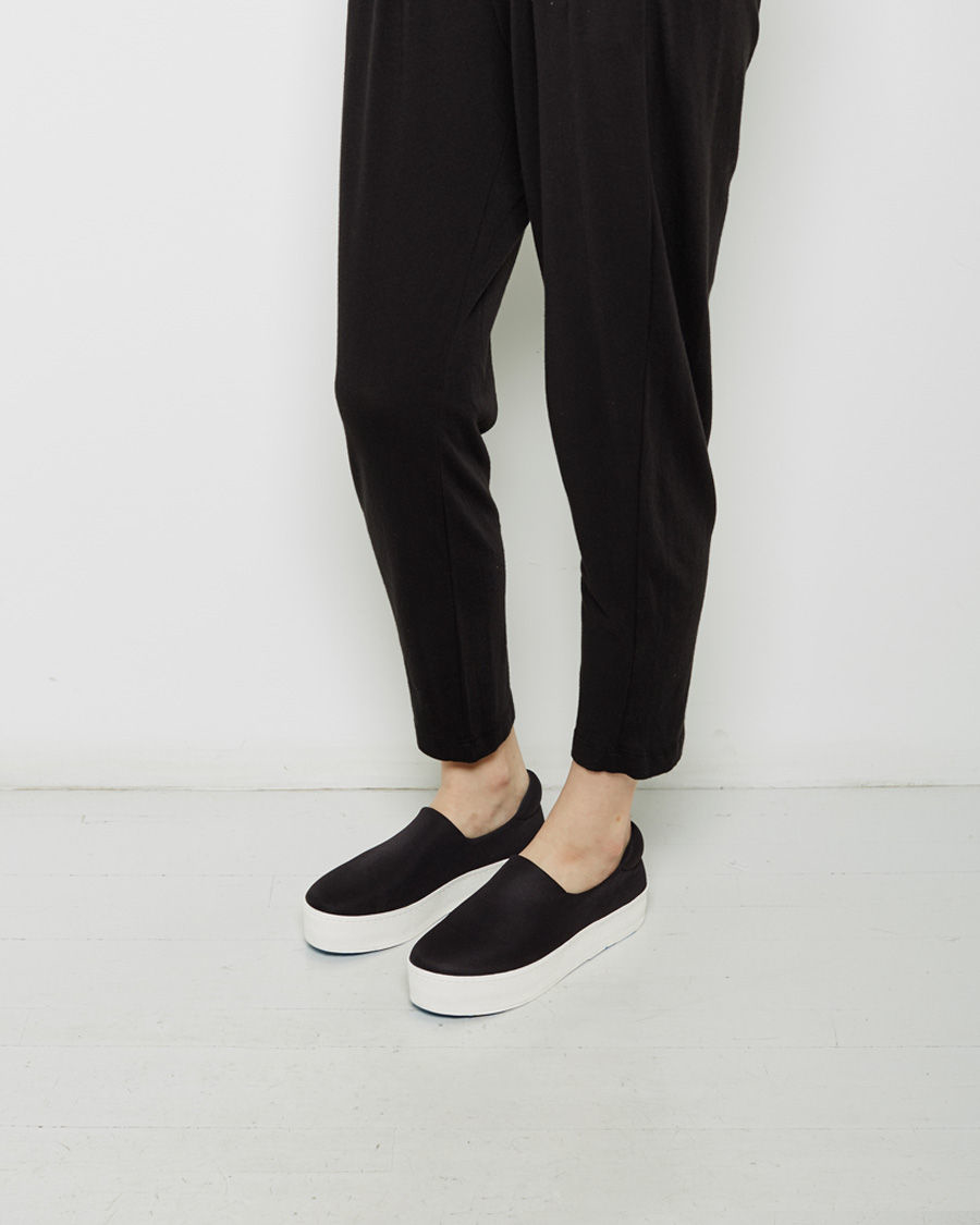 Opening Ceremony Black Satin Cici Platform Slip-On Sneakers