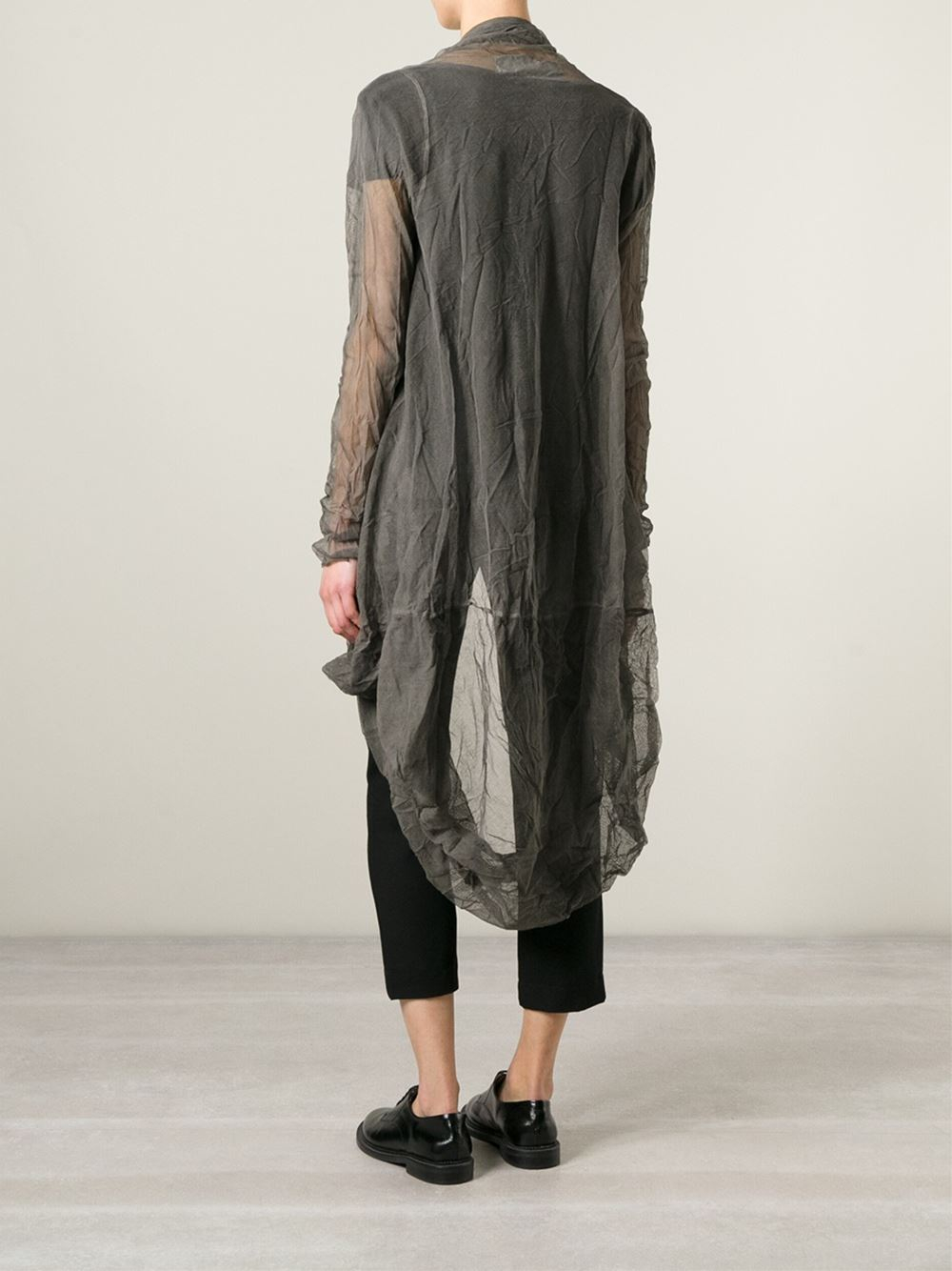 Lyst Rundholz Long Sheer Open Front Cardigan In Gray