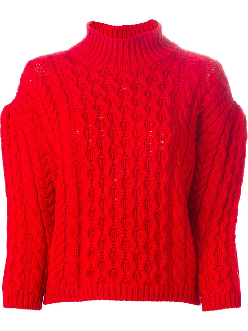 Lyst Simone Rocha Chunky Cable Knit Sweater In Red