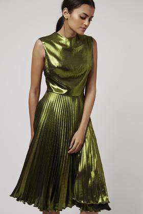 Lyst Topshop Metallic Pleated Midi Dress In Green