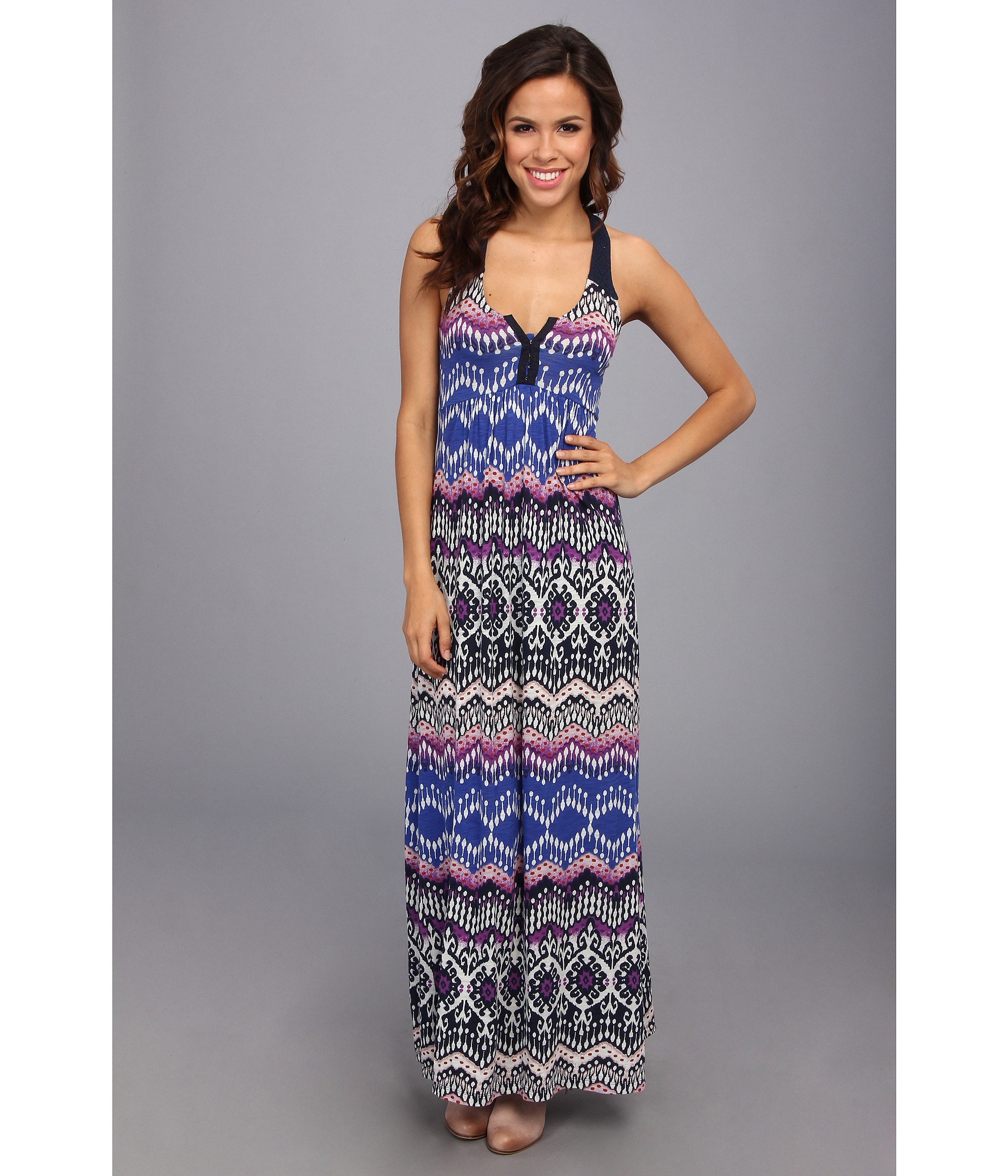 Lucky brand Tribal Print Maxi Dress | Lyst