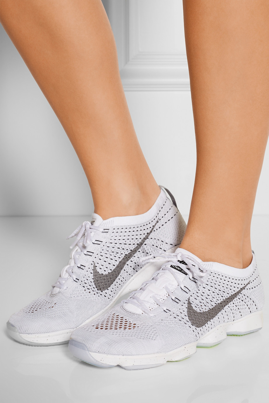 reputable site eca92 75ddf Nike Flyknit Zoom Agility Mesh Sneakers in White - Lyst