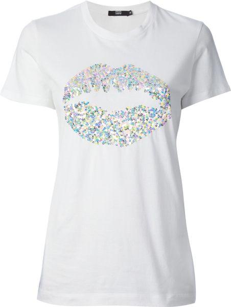 Markus Lupfer Sequin Lips Logo Tshirt In White Lyst
