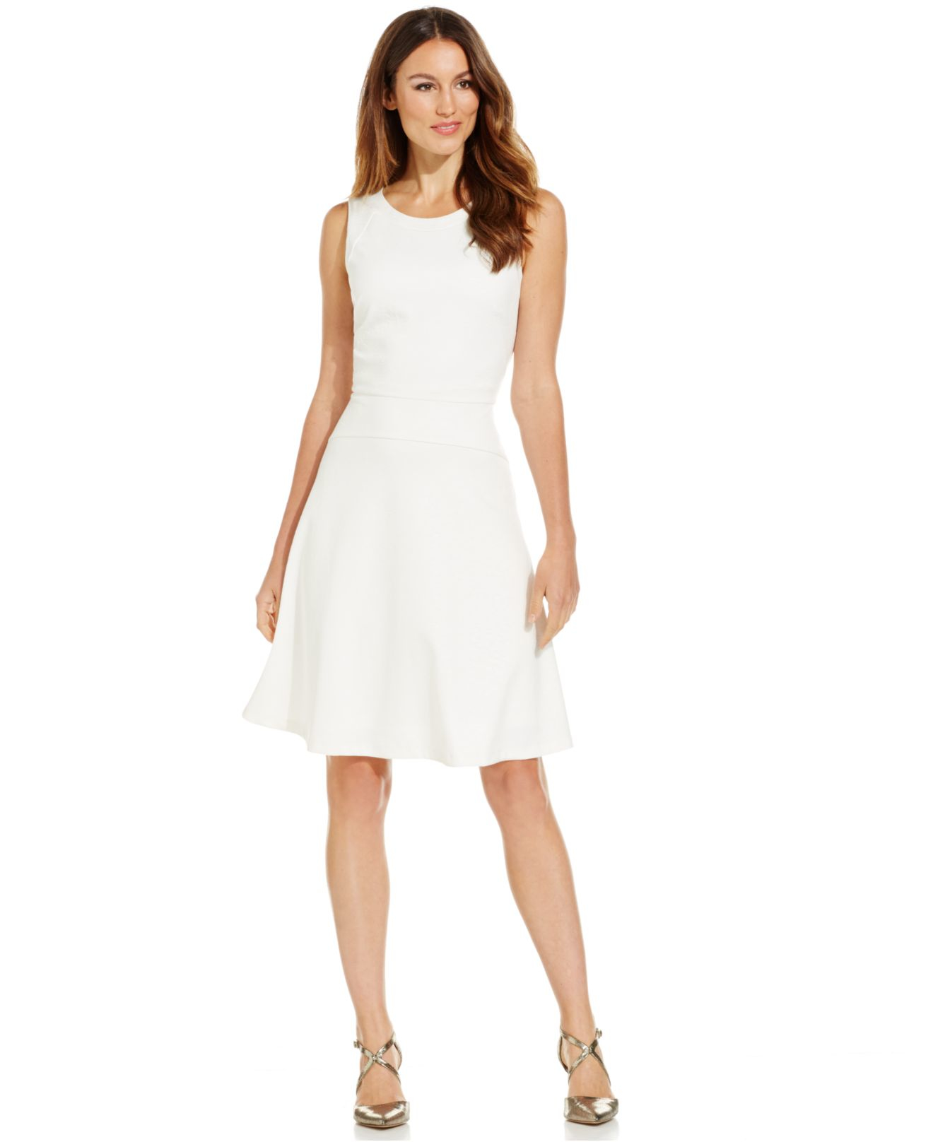 fa56cf846d2649 Calvin Klein Sleeveless Fit & Flare Dress in White - Lyst