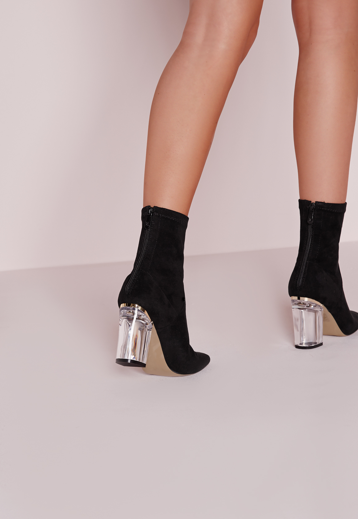 missguided perspex faux suede heel ankle boots black in