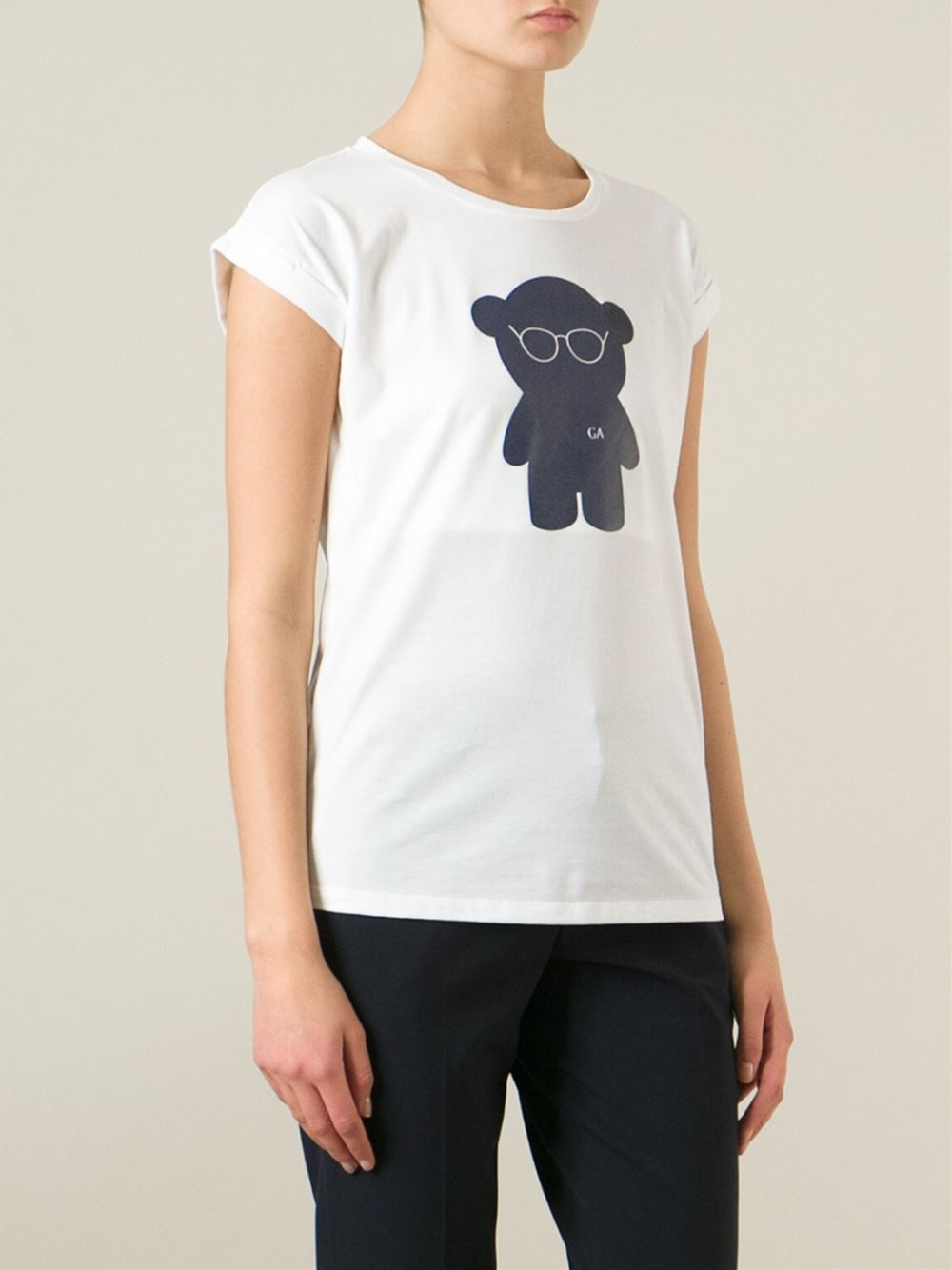 emporio armani bear print t shirt in white lyst. Black Bedroom Furniture Sets. Home Design Ideas