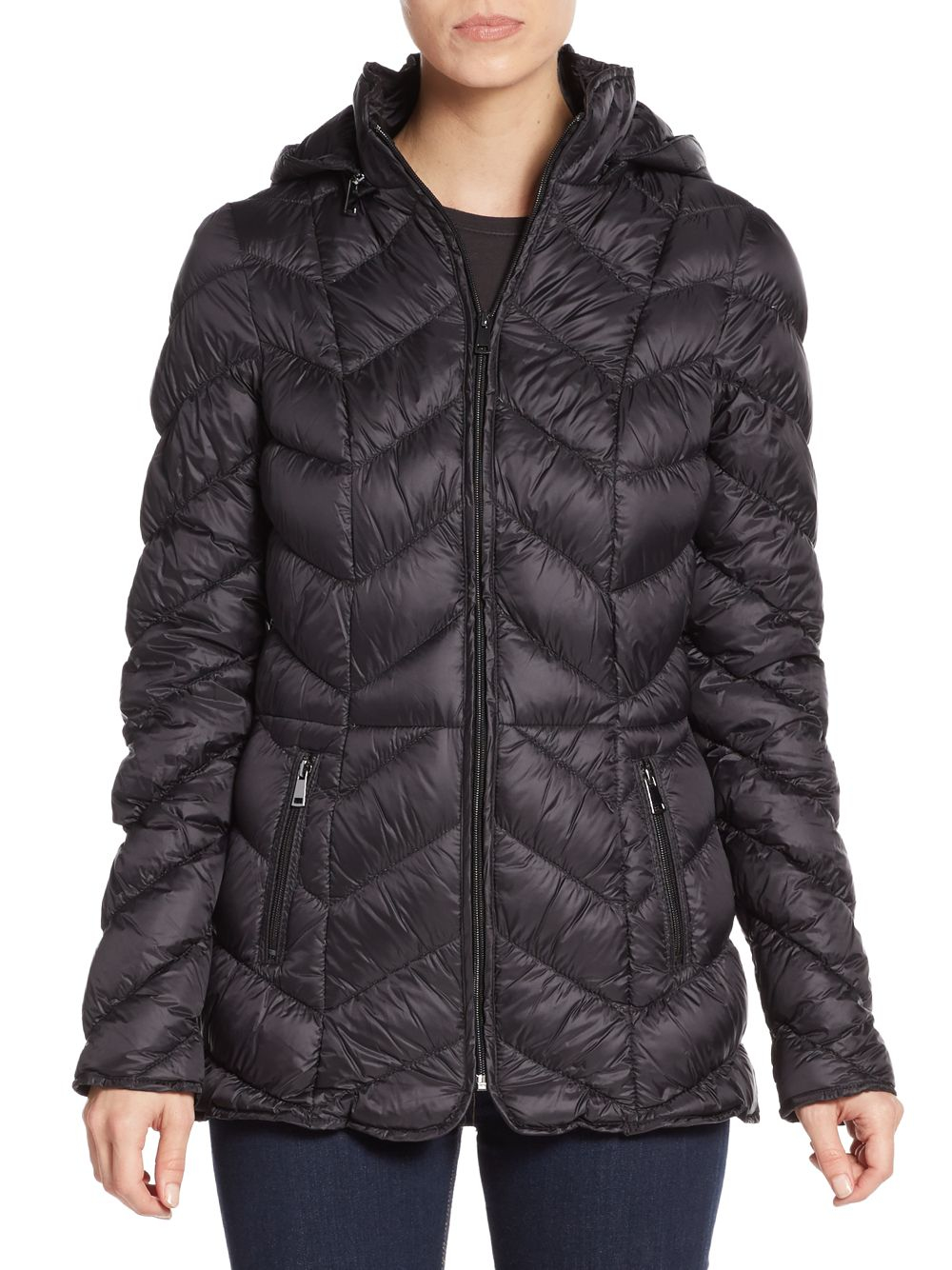 Lyst Saks Fifth Avenue Quilted Down Puffer Jacket In Black