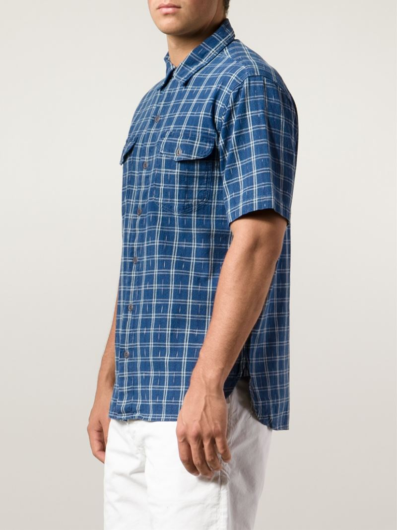 4e9b9b57 RRL Checked Short Sleeve Shirt in Blue for Men - Lyst