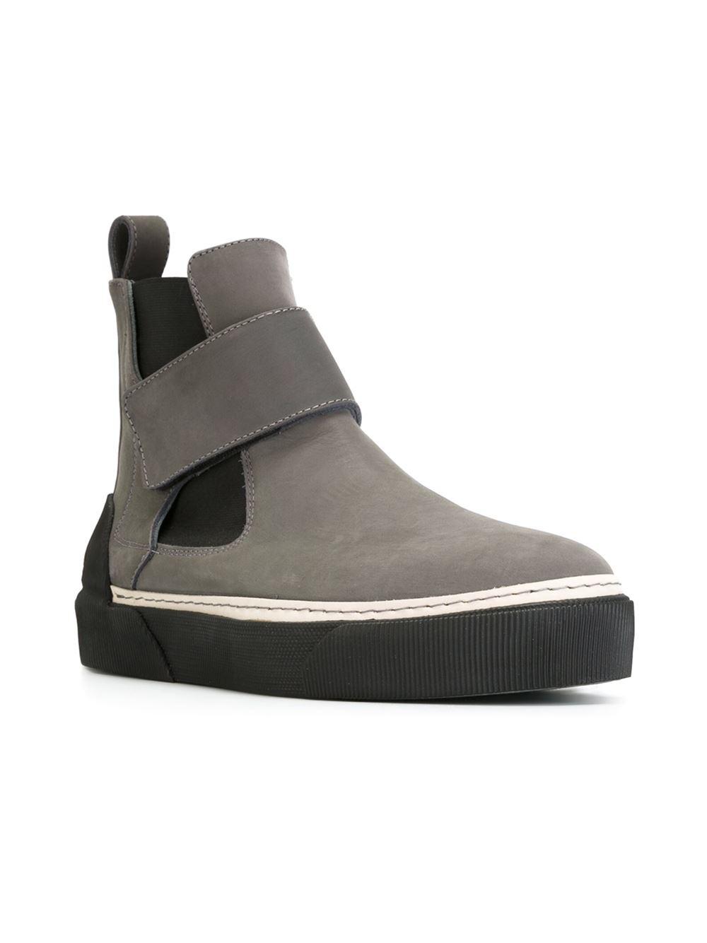 Lanvin Velcro Mid Sneakers in Gray for Men