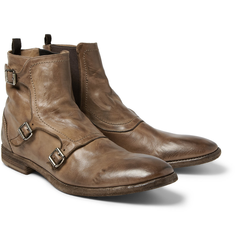 mcqueen leather monkstrap boots in brown for