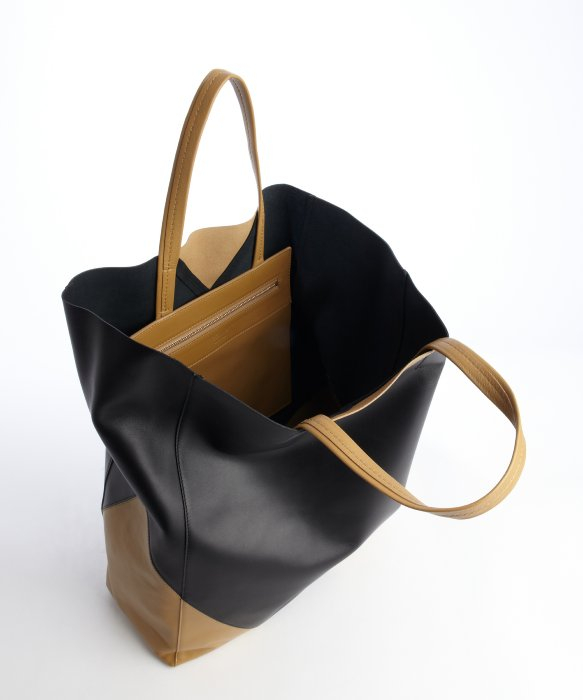 C¨¦line Black and Camel Colorblock Leather Tote Bag in Black | Lyst