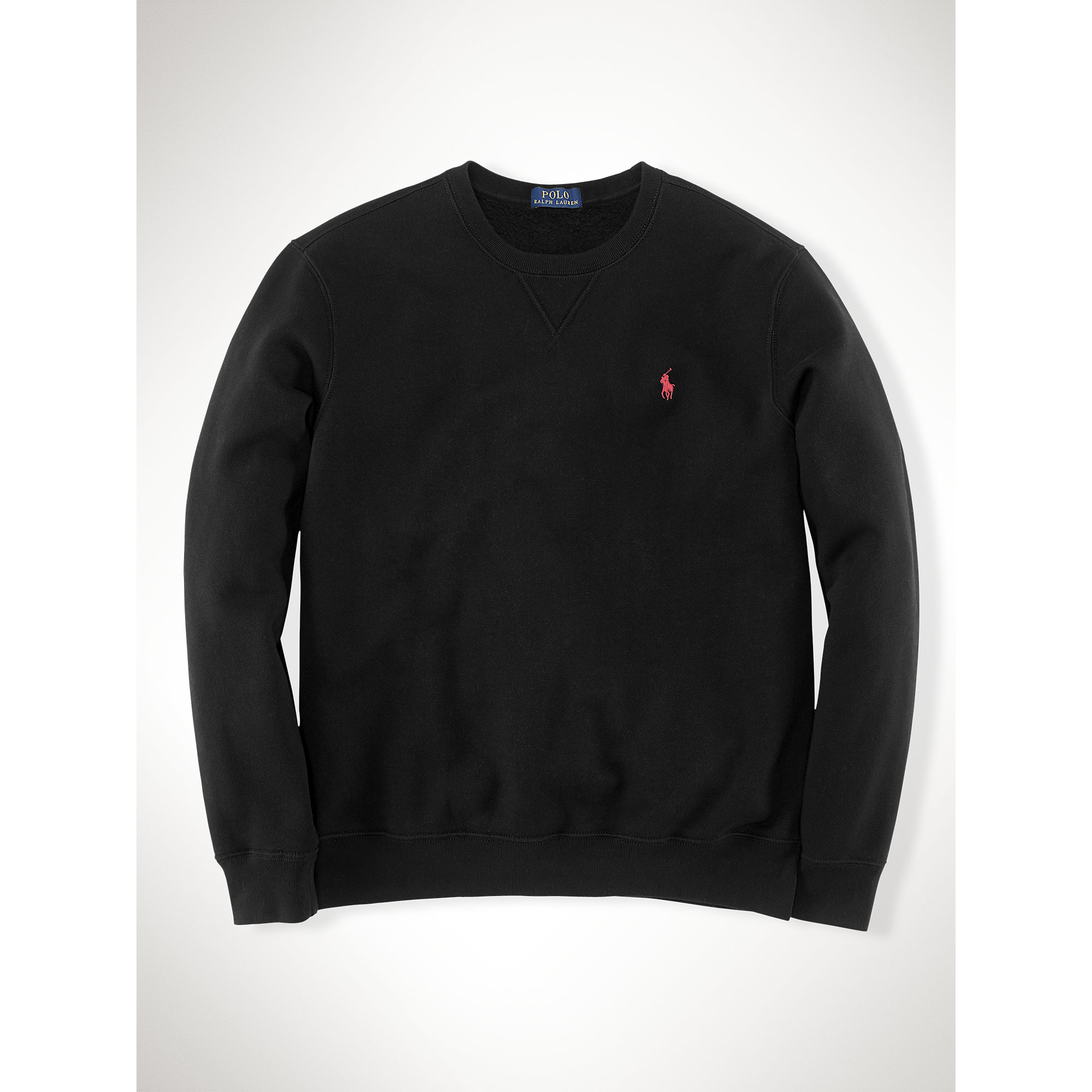 polo ralph lauren cotton blend fleece sweatshirt in black for men lyst. Black Bedroom Furniture Sets. Home Design Ideas