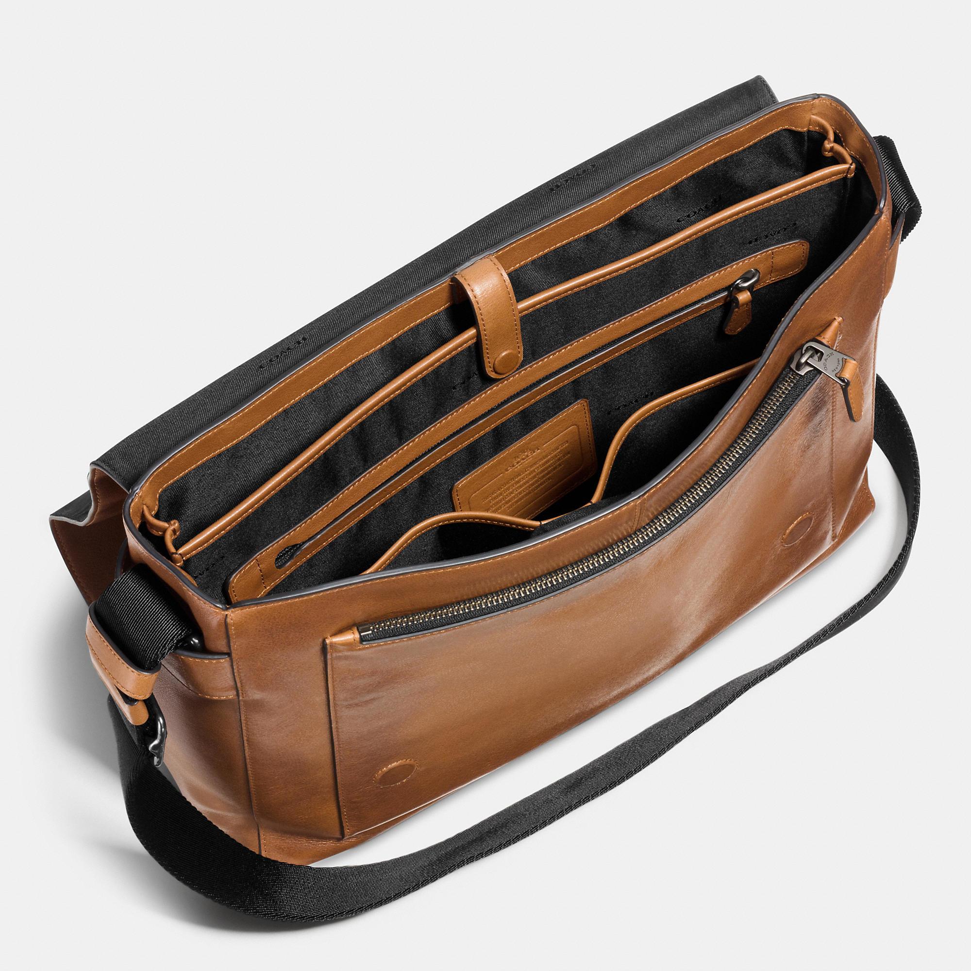 71858f514697 Lyst - COACH Metropolitan Courier In Sport Calf Leather in Brown