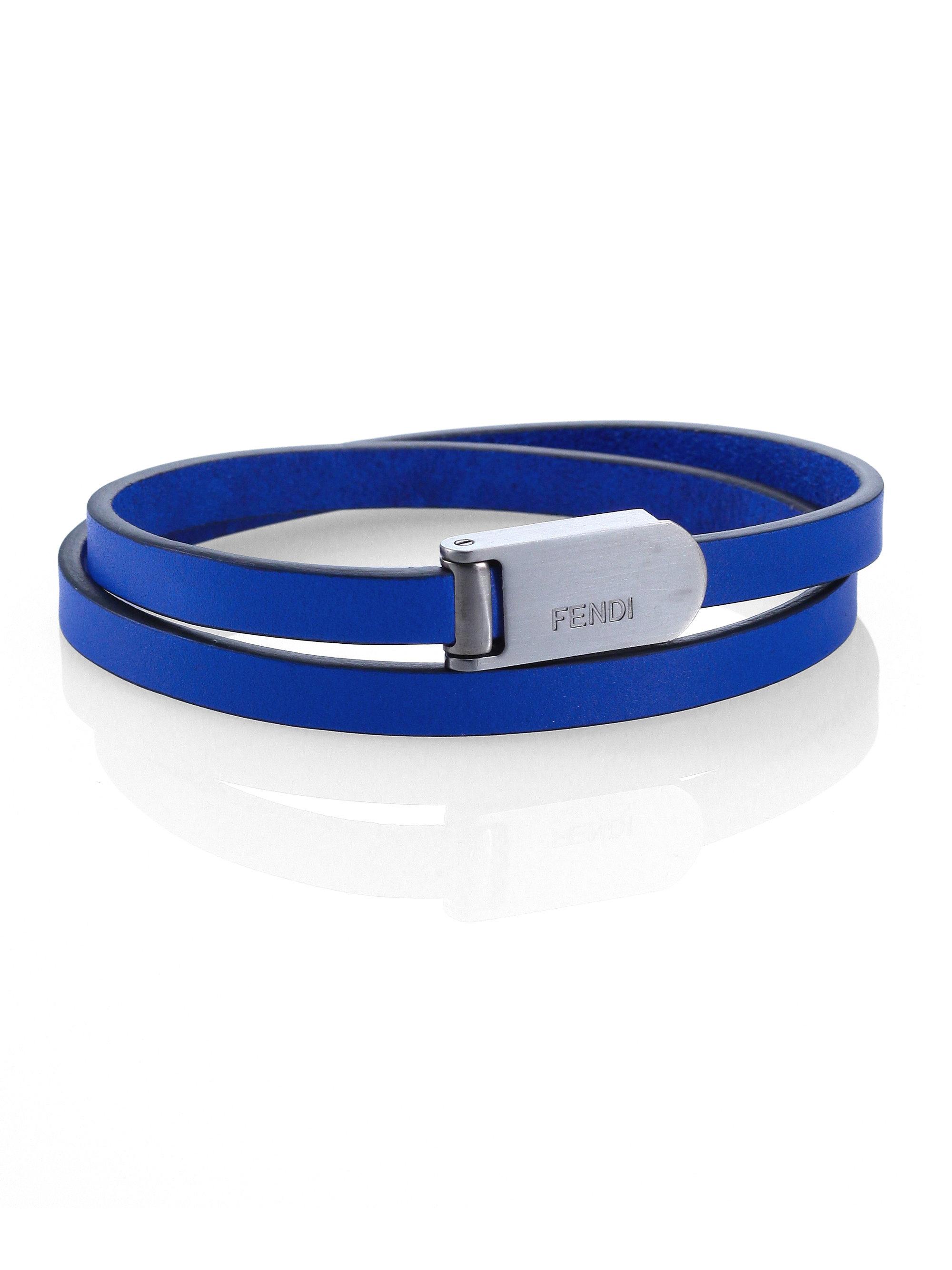 Fendi Leather Wrap Bracelet In Blue For Men Lyst