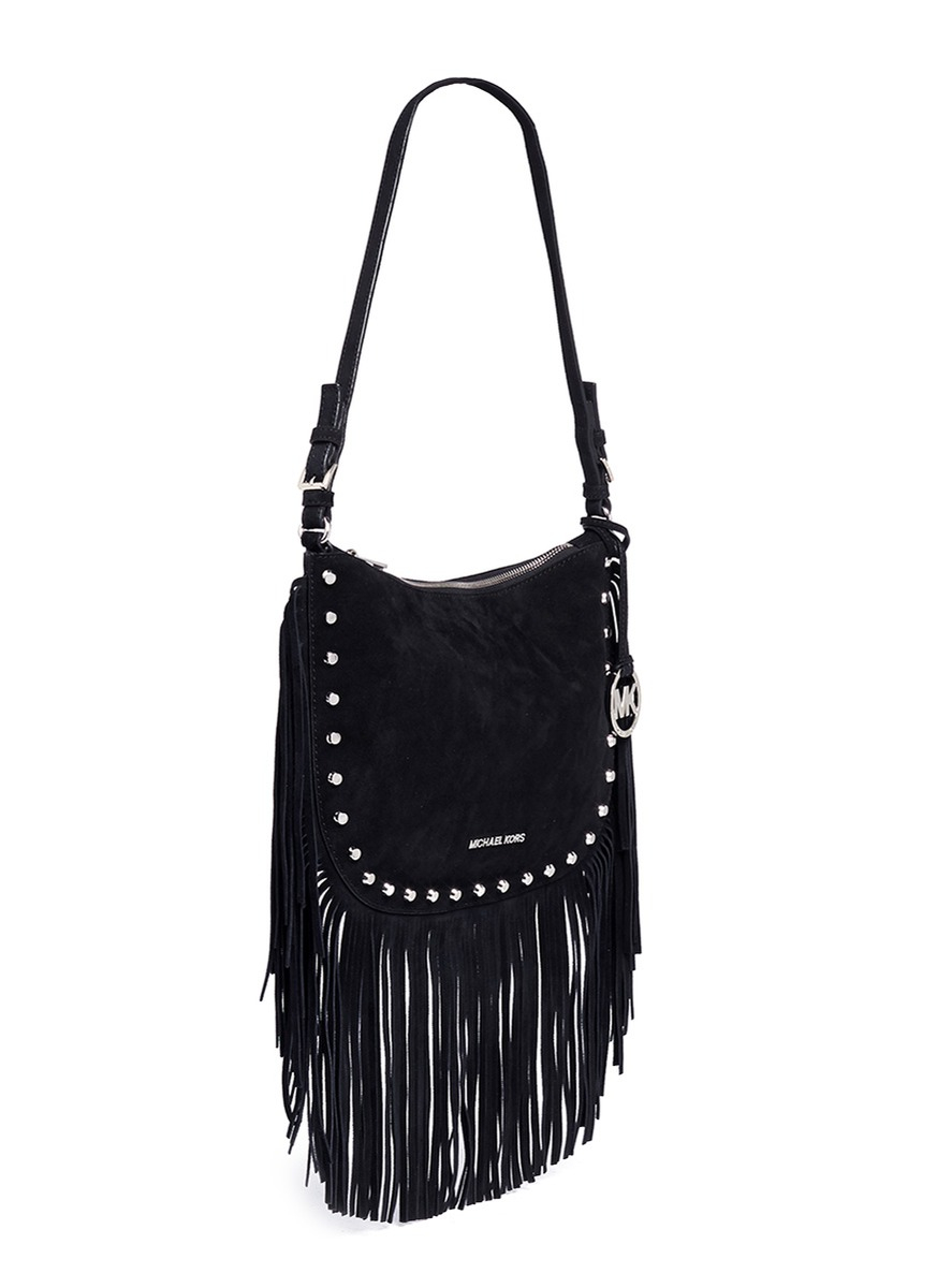 d97708485d89 Michael Kors 'billy' Medium Suede Fringe Shoulder Bag in Black - Lyst