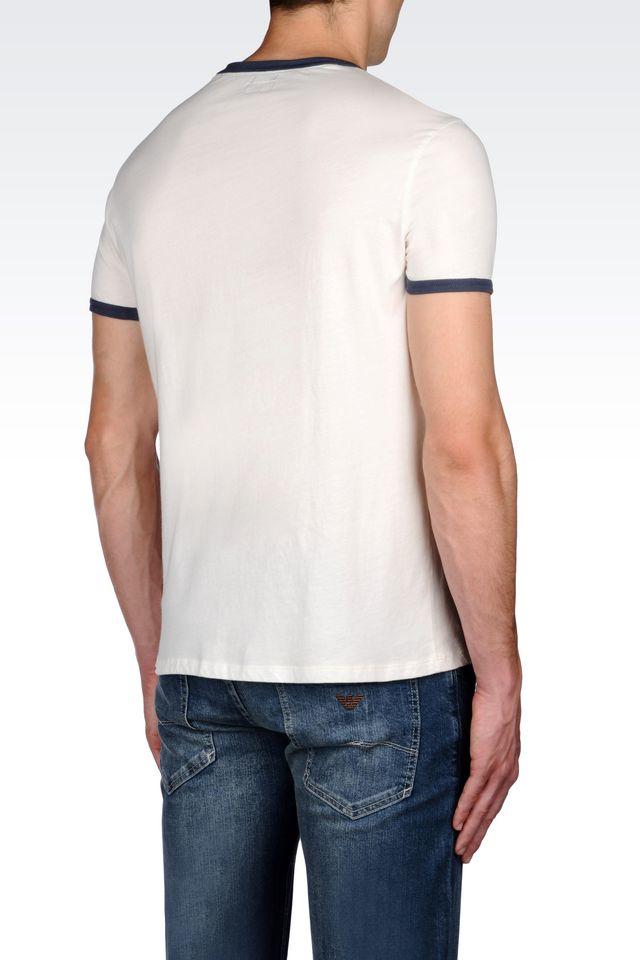 armani jeans print t shirt in white for men lyst. Black Bedroom Furniture Sets. Home Design Ideas