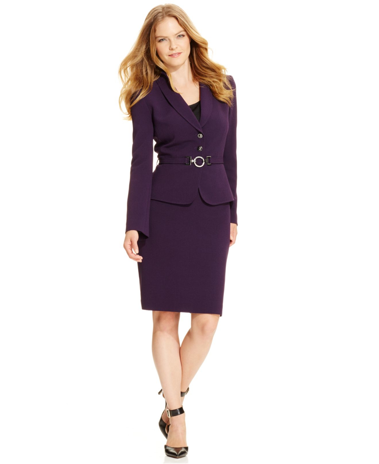 34229a89e014 Tahari Belted Jacket Skirt Suit in Purple - Lyst