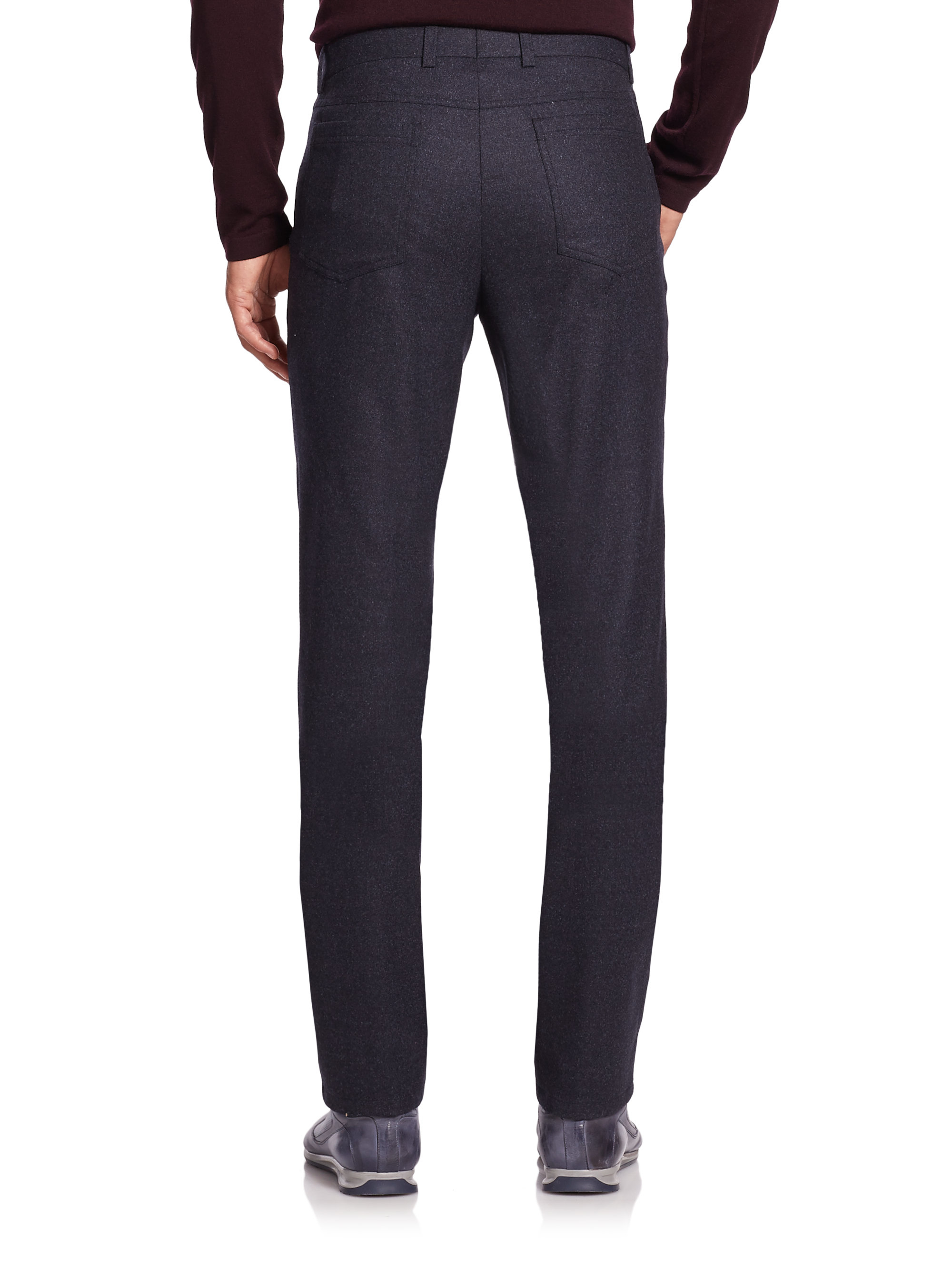 Lyst Saks Fifth Avenue Wool Flannel Straight Leg Pants
