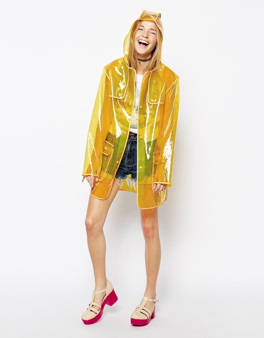 Asos Clear Rain Trench Yellow on Color Learn Rain