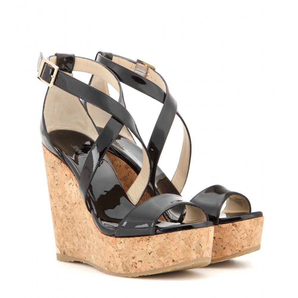 jimmy choo portia patent leather wedge sandals in black lyst