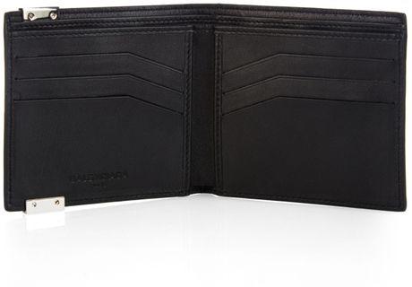 Balenciaga Marble Print Leather Wallet In White For Men