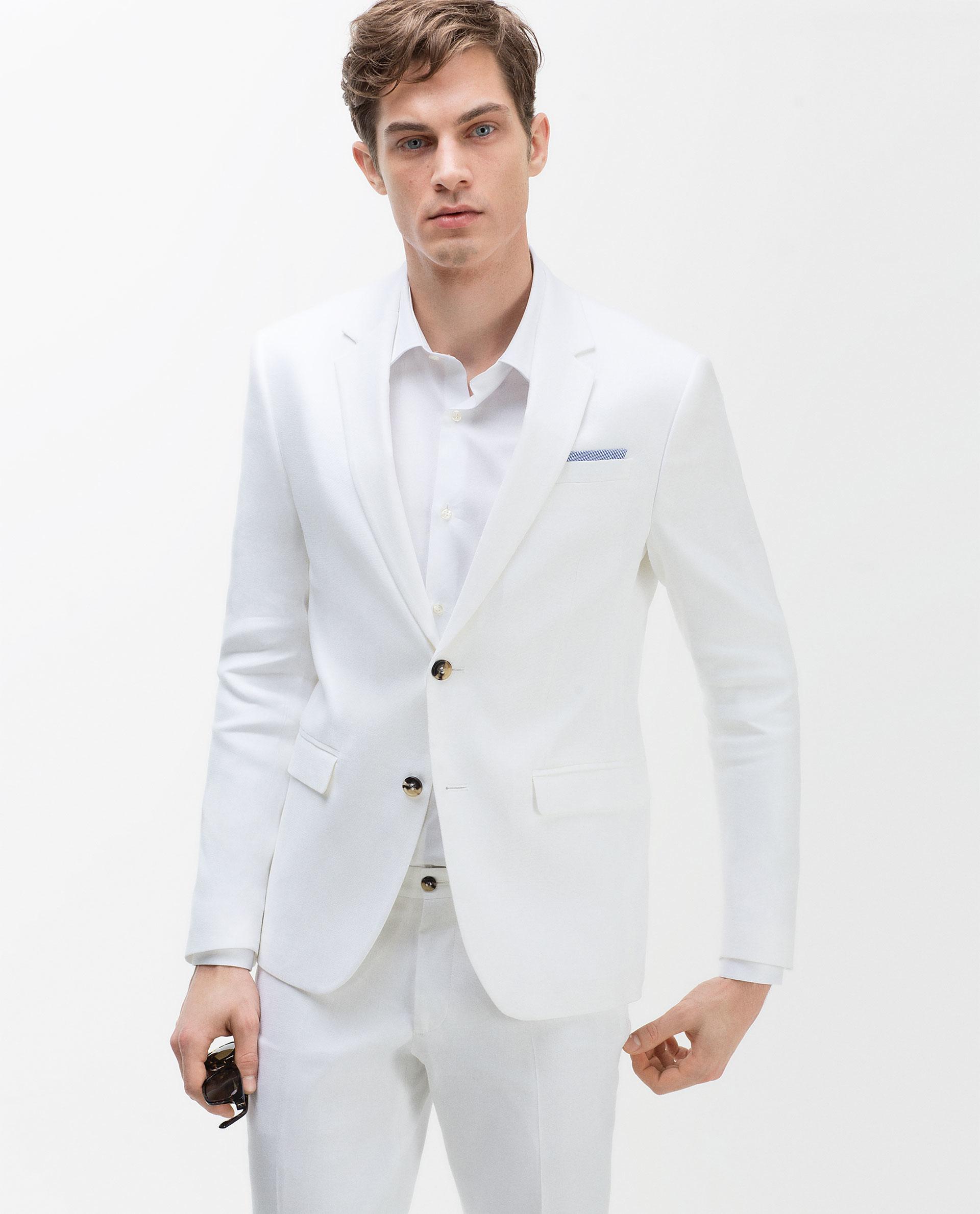 Zara Linen Blazer Linen Blazer in White for Men | Lyst