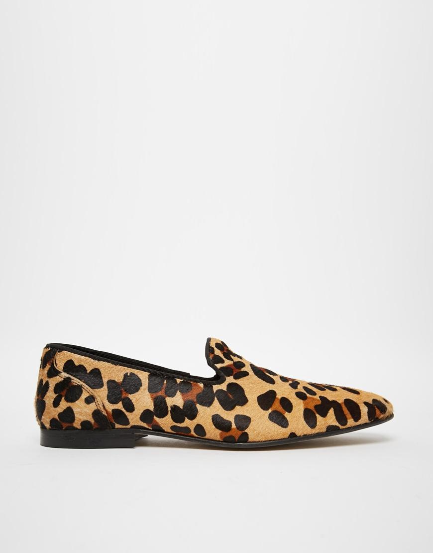 ASOS DESIGN loafers in leopard skin effect AQuYX