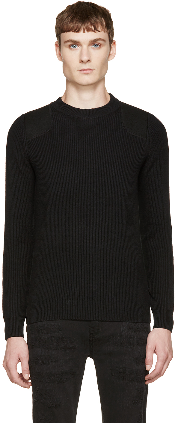 Diesel black gold Black Rib Knit Sweater in Black for Men | Lyst