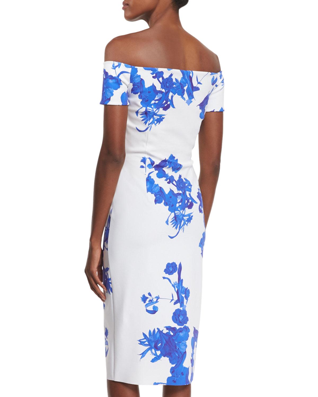 84abae7e709 La Petite Robe Di Chiara Boni Off-the-shoulder Floral-print Sheath ...
