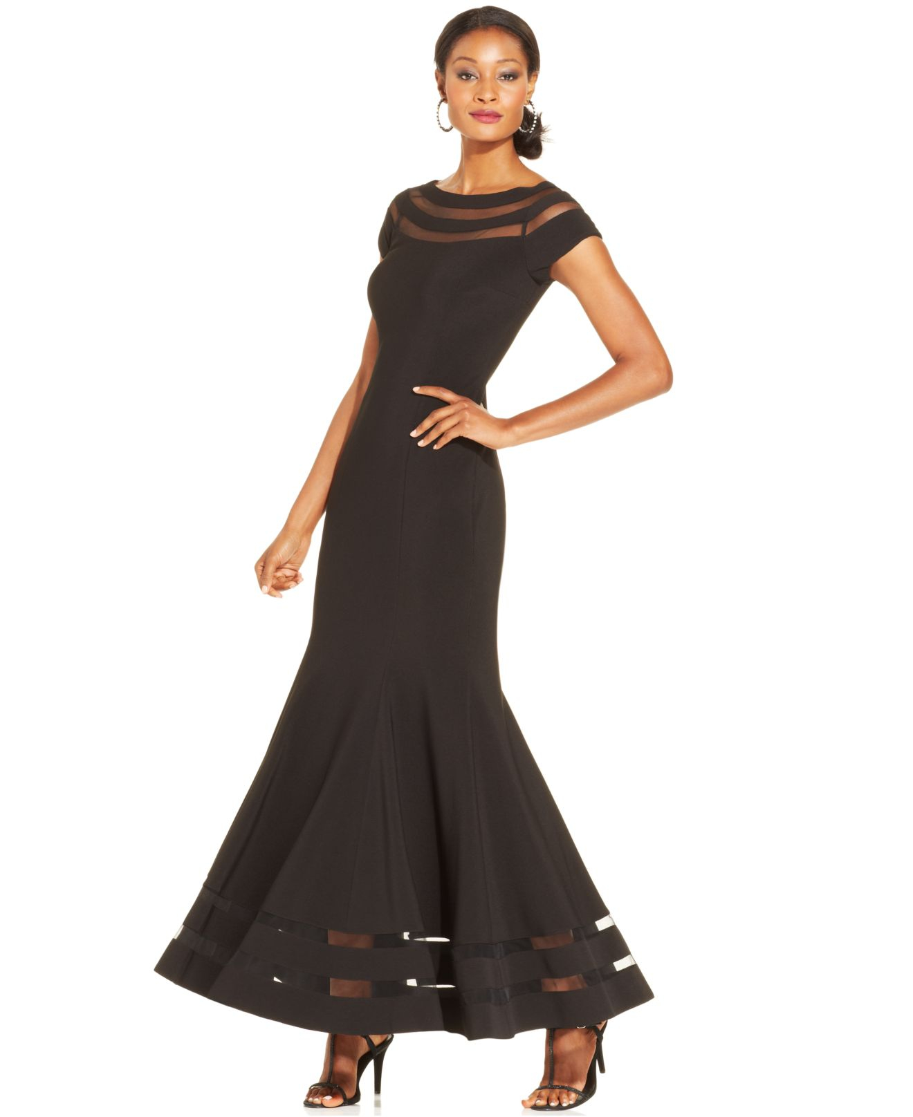 Lyst - Js Collections Illusion Panel Mermaid Gown in Black