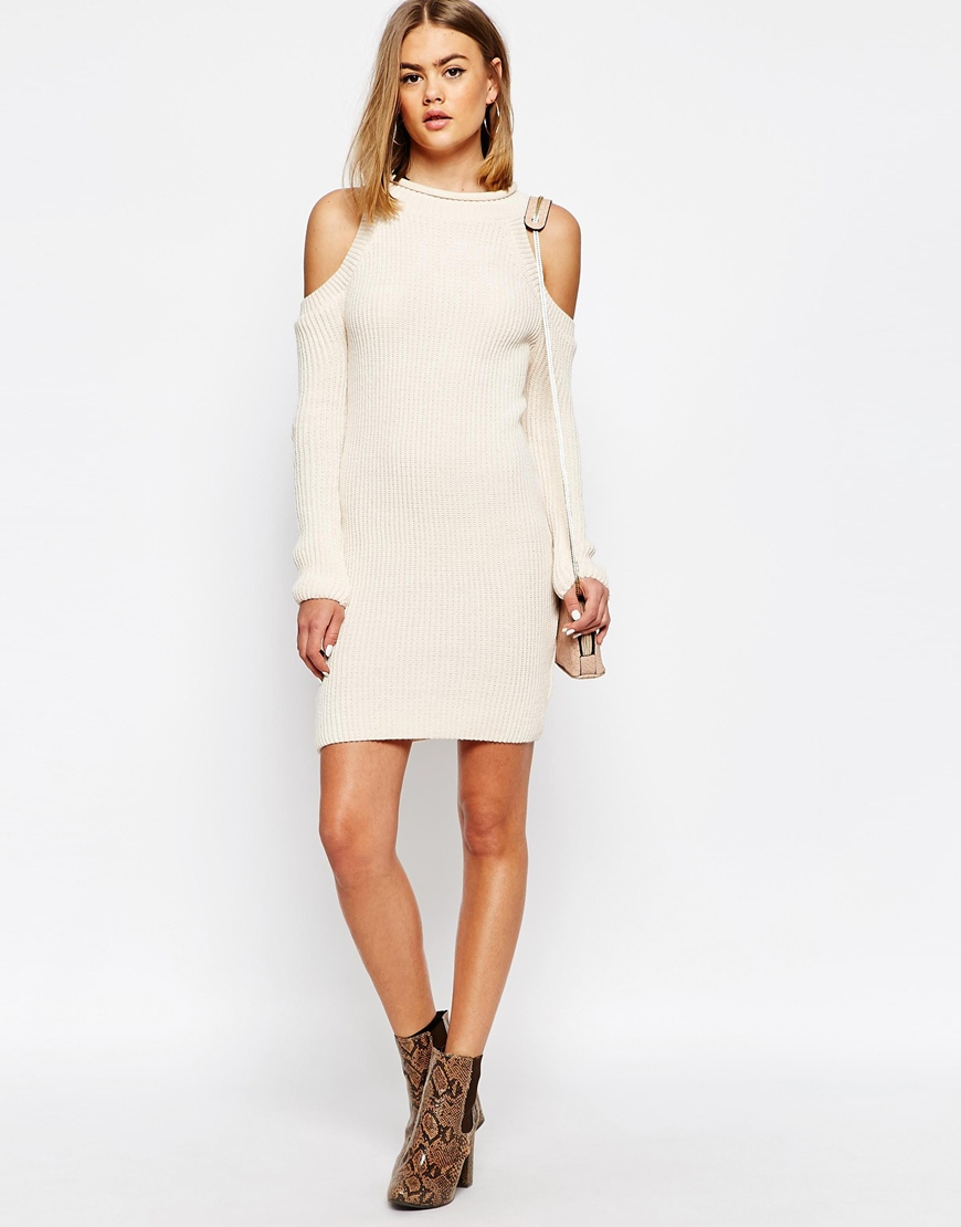 cef7835d80ff3 Daisy Street Halter Neck Knit Rib Dress With Cold Shoulder in ...