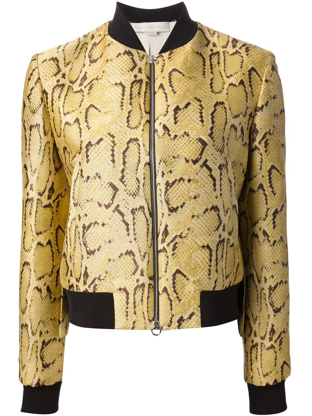 Stella mccartney Snakeskin Print Bomber Jacket   Lyst